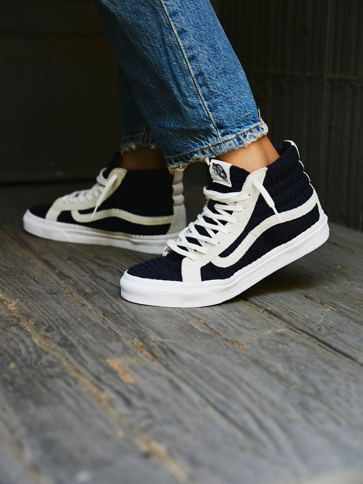 33c81792cc Vans Navy   White SK8-Hi Embossed Hi Top at Free People Clothing Boutique