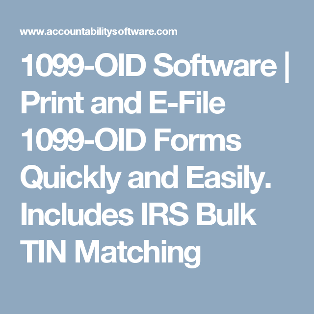 1099 Oid Software Print And E File 1099 Oid Forms Quickly And