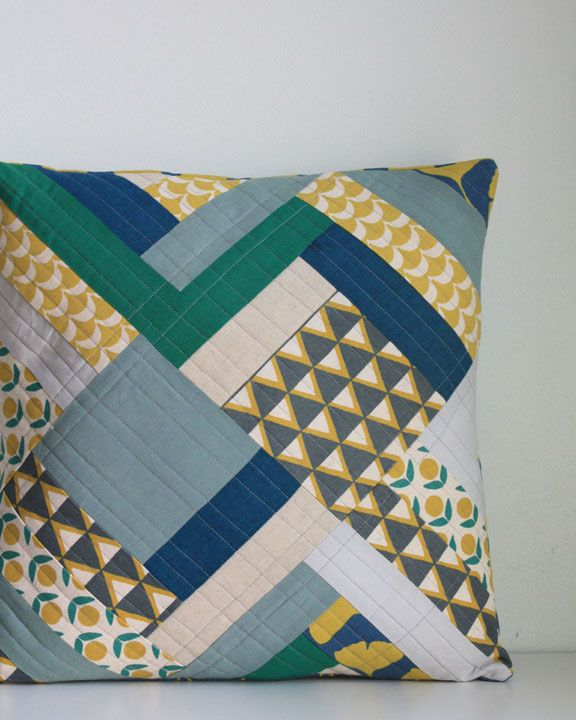 Half Log Cabin Pillow with Kokka Stamped collection by Ellen Luckett Baker.