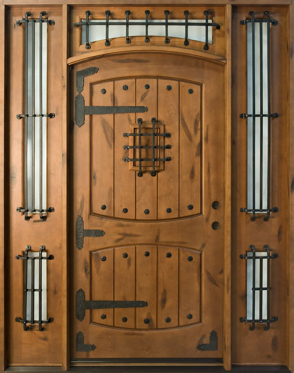 Front Door Custom Single With 2 Sidelites Solid Wood Dark Knotty Alder Finish