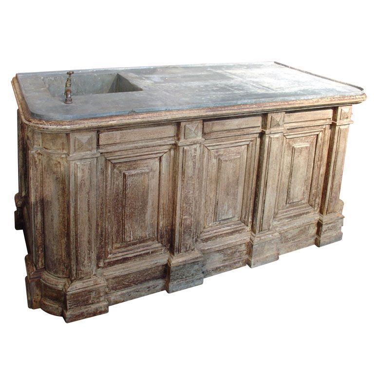 19th Century Painted Counter With Zinc Top And Sink, 19th Century, Late  1800u0027s