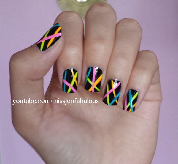 Bright Nail Art Design Ideas: Neon Nail Art (TheFabFox By Jenny Claire Fox)