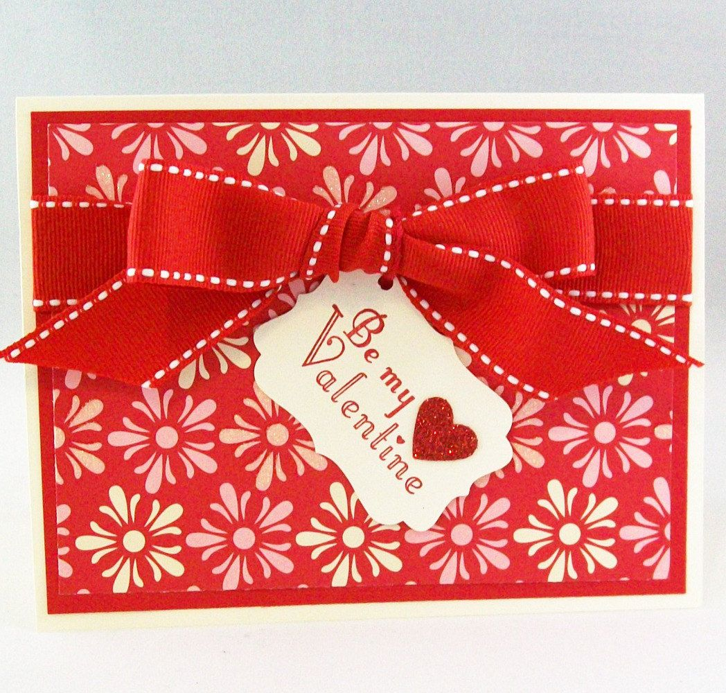 Be my valentine card handmade red and pink valentine with glitter