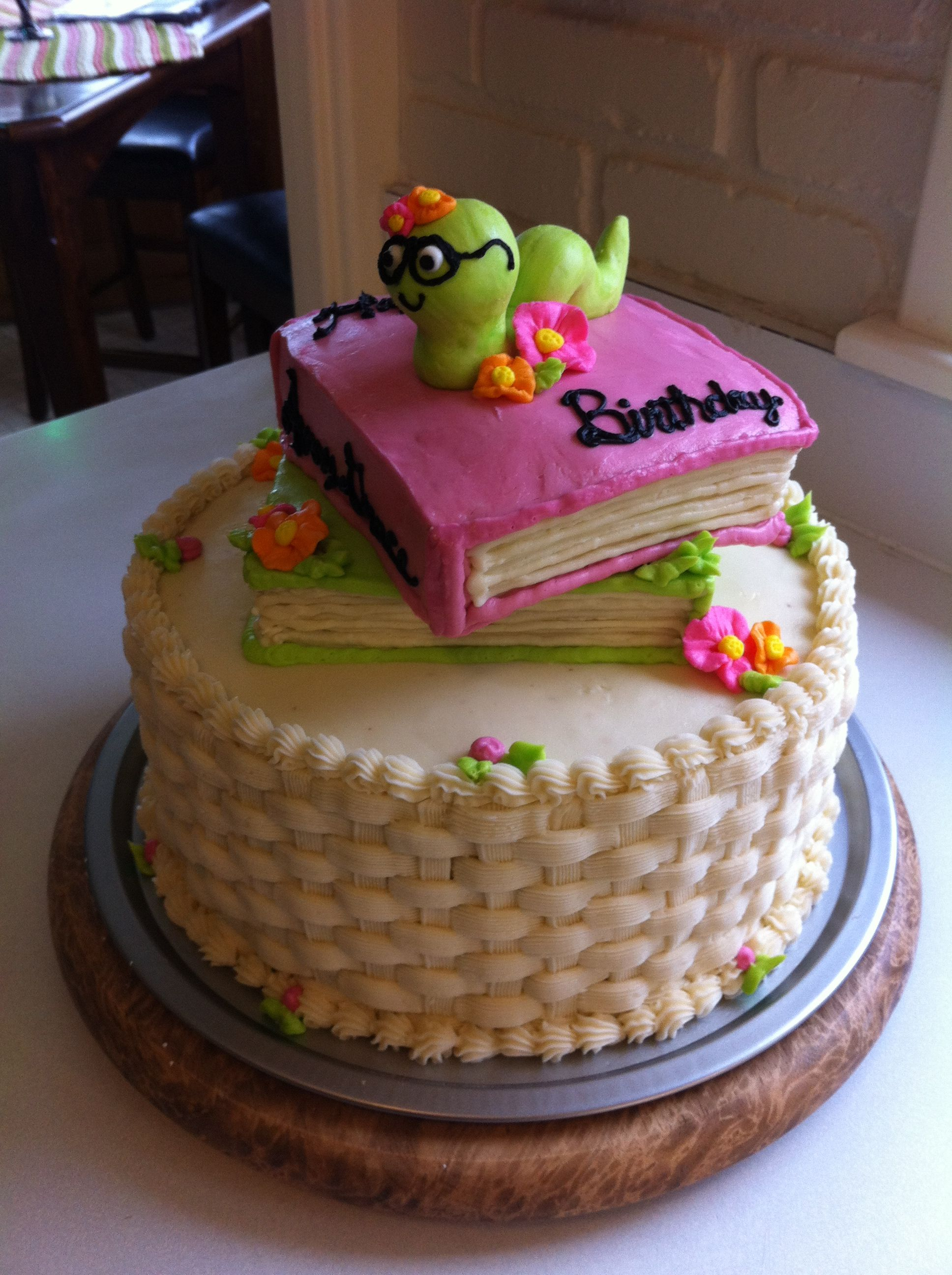 Bookworm Cake Cake Book Cakes First Birthday Cakes