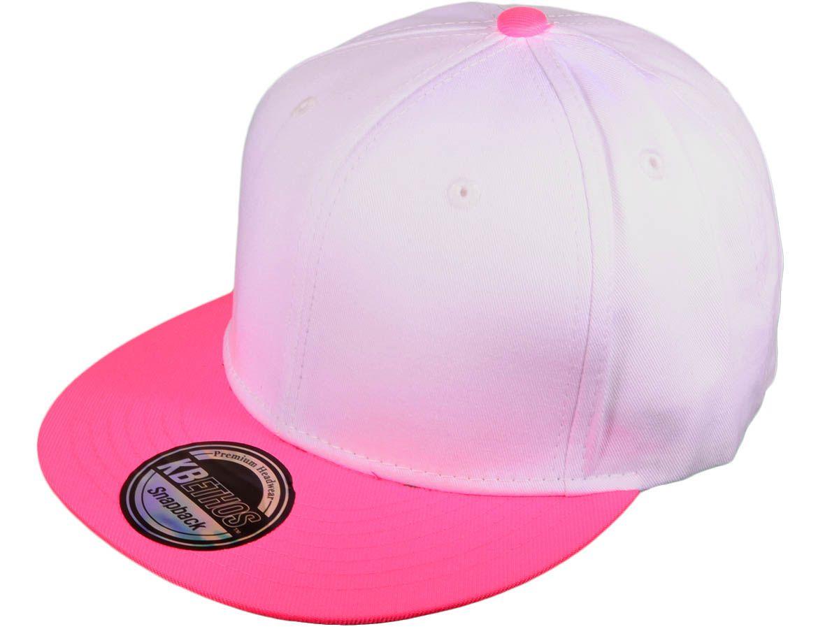 Wholesale Cotton Flat Bill Blank Plain Snapback Hats W Green Underbill White Neon Pink