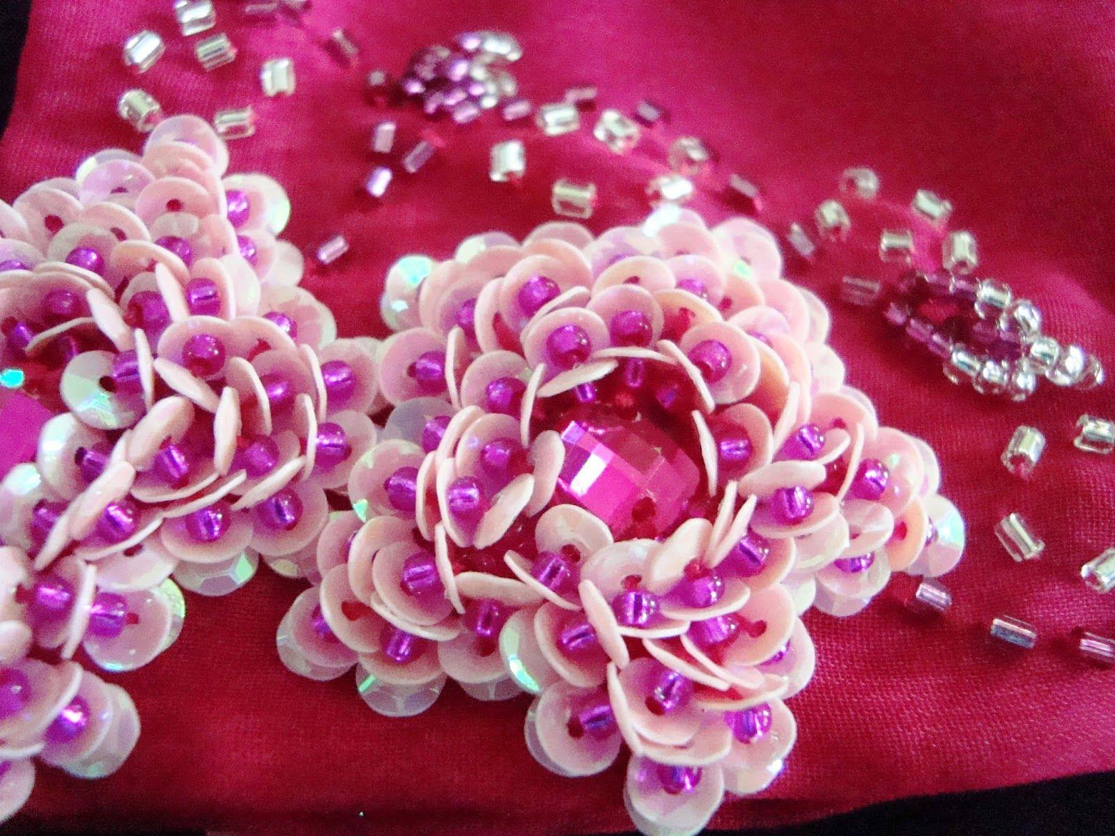 Вышивка пайетки роза