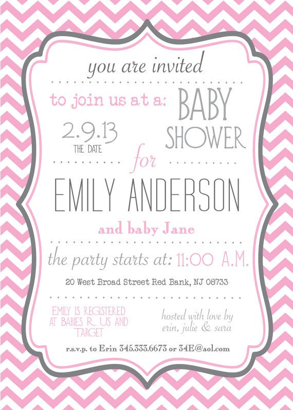 Pink And Gray Chevron Baby Shower Sprinkle Or Birthday Invitation