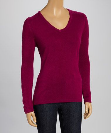 Look at this #zulilyfind! Beet V-Neck Sweater #zulilyfinds