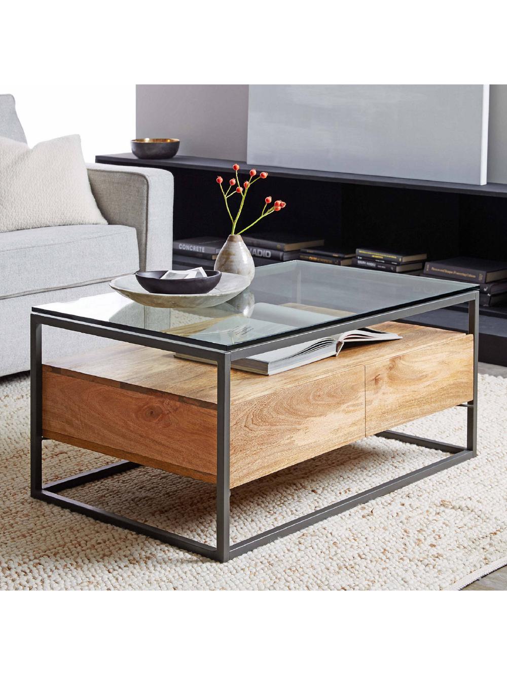 west elm industrial storage box frame coffee table  glass