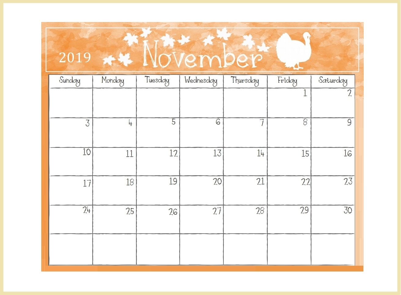 image about Free Printable Nov Calendar identified as Printable November 2019 Table Calendar calendars