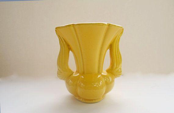 Yellow Flower Vase Vintage Pottery Vase Niloak By Vintassentials