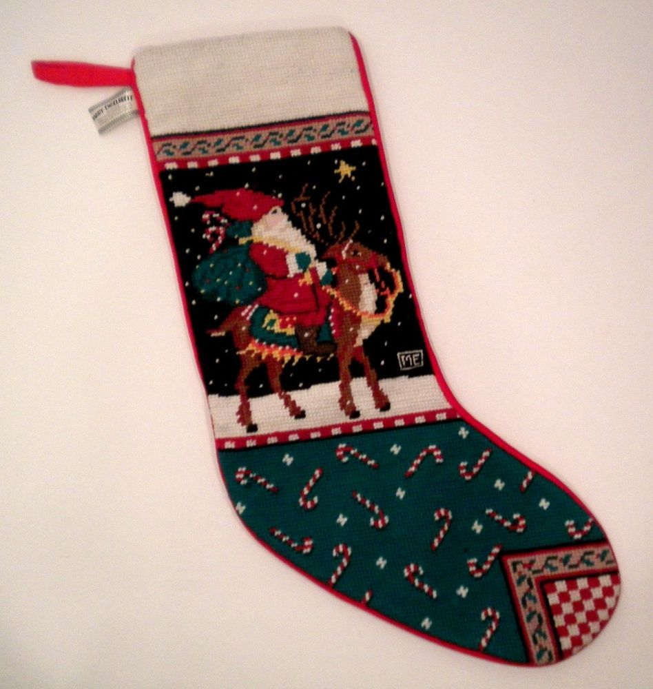 Mary Engelbreit Needlepoint Christmas Stocking Santa