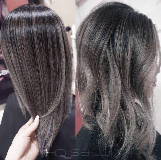 Gray Silver Black Hair Color Melt Braid Crown Pinterest Black