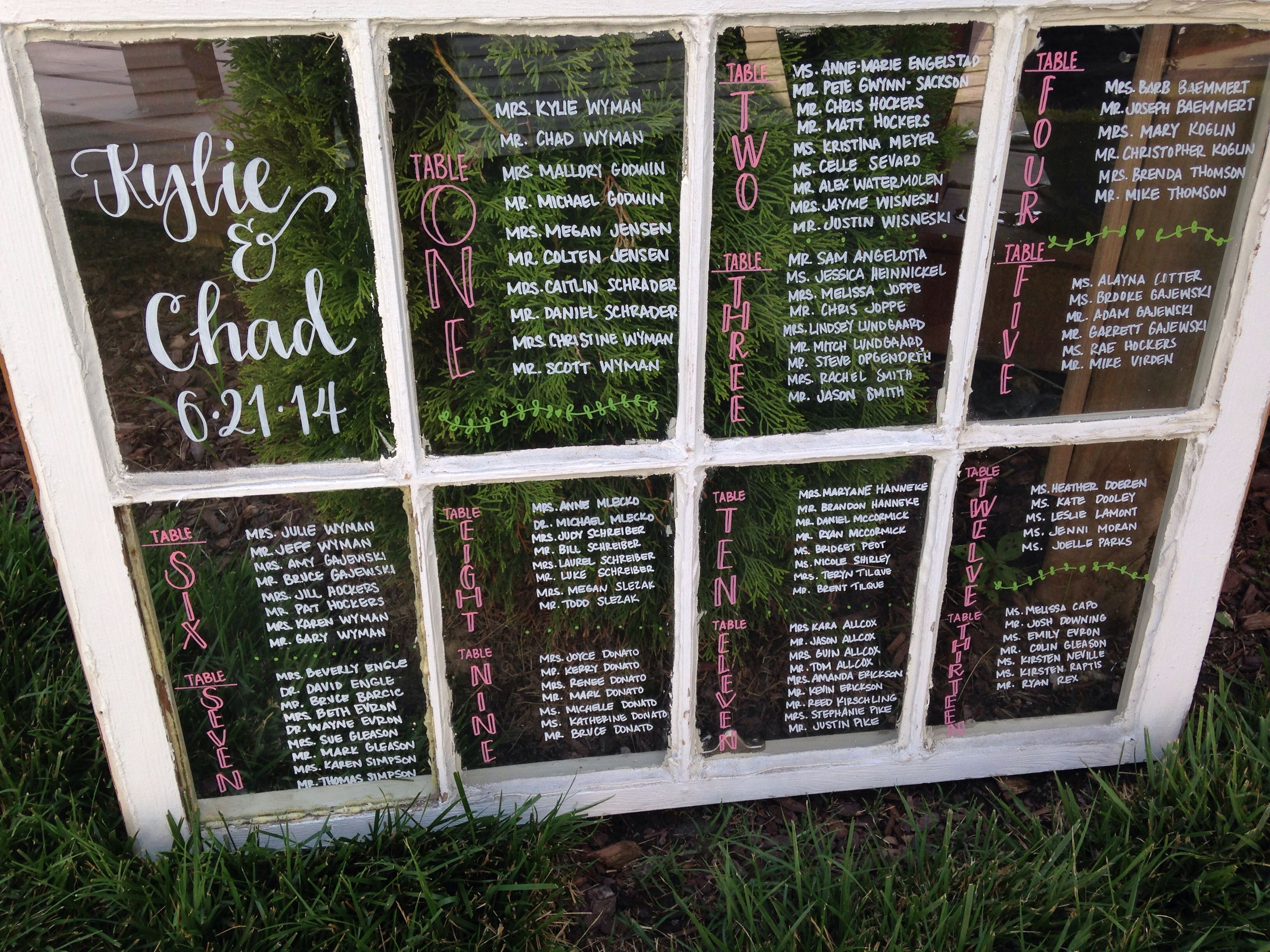 Window Seating Chart Wedding
