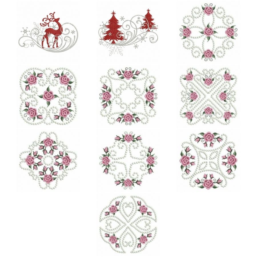 Pearl Roses Quilt 4   OregonPatchWorks   Embroidery designs, Machine embroidery designs, Quilts