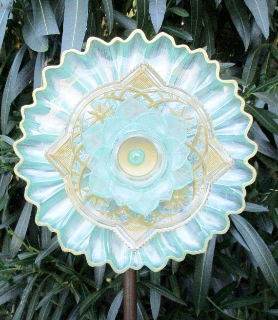 Glass Plate Flower Garden Art