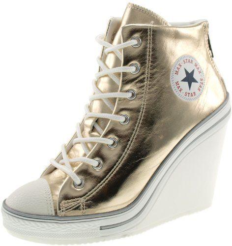 3e1d9e255fe4 Maxstar 777 Back Zipper Synthetic Leather Wedge Heels Shoes Gold 7 B(M) US