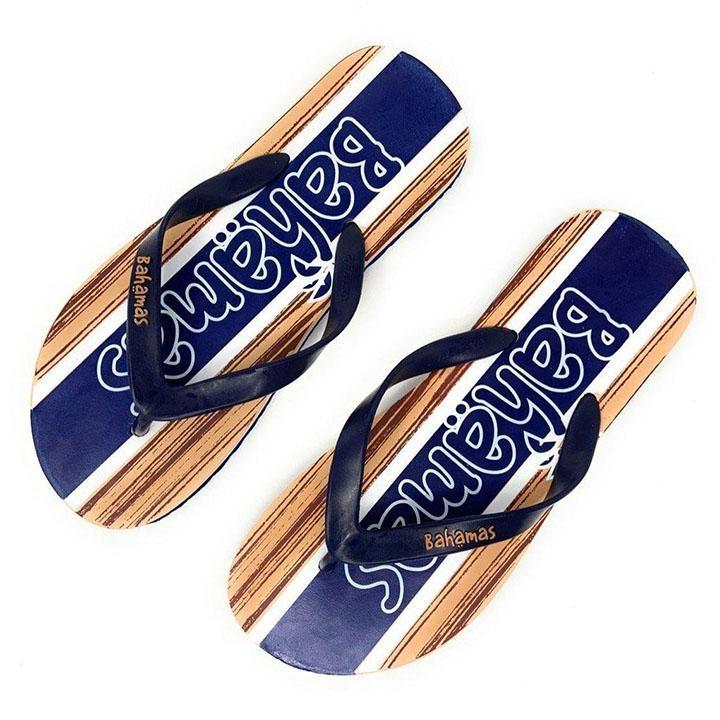 Bahamas Mens Premium Flip Flops – Navy  Blue  Beige – 8 / Blue Multi
