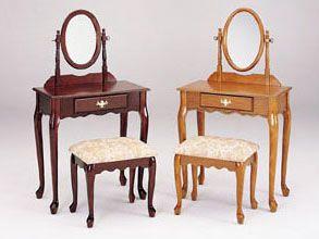 Queen Ann Cherry Wood Vanity Set Furniture, Bench set