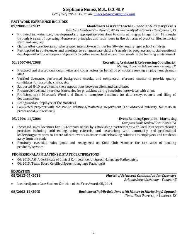 Cover letter for speech language pathologist assistant Title - professional affiliations for resume examples