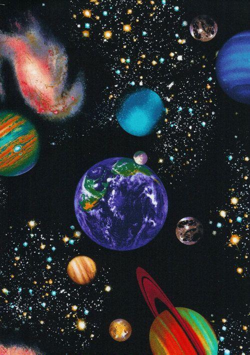 Space plants stars universe FABRIC 100/% COTTON METRE MATERIAL Jupiter moon