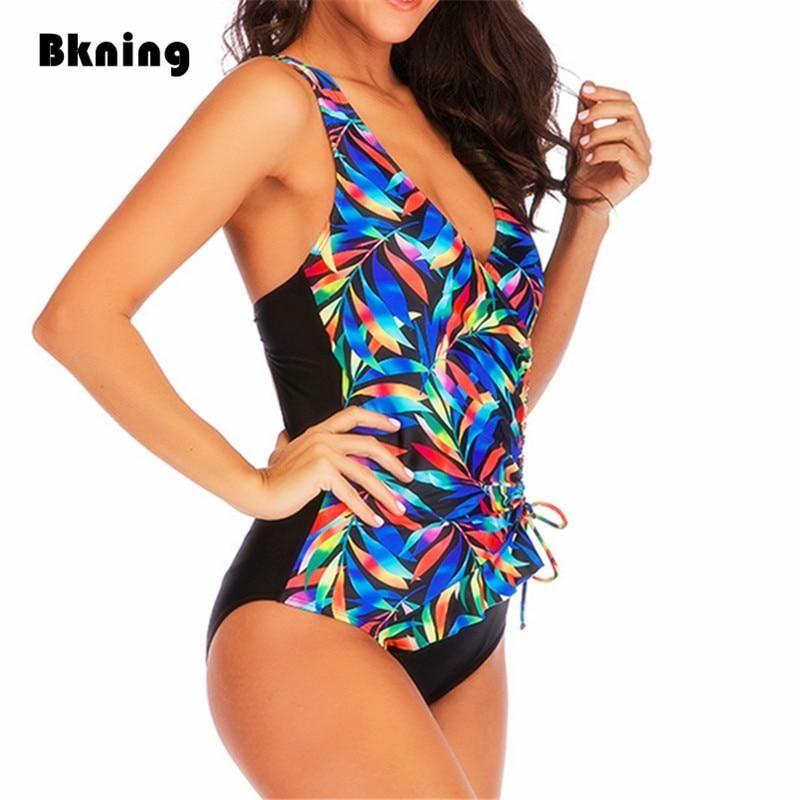 2212fd2040 Low Back Women'S One Piece Swimsuit Plus Size Women Leaf Print B953 – FuzWeb
