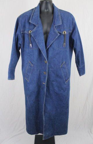 Vtg Andy Johns Heavy Denim Western Cowboy Duster Coat Men S Medium Denim Western Stylish Jackets Cowboy Duster