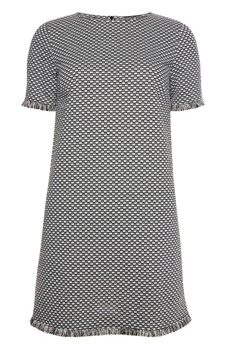 schwarz-weißes kleid mit fransensaum | weißes kleid, kleider