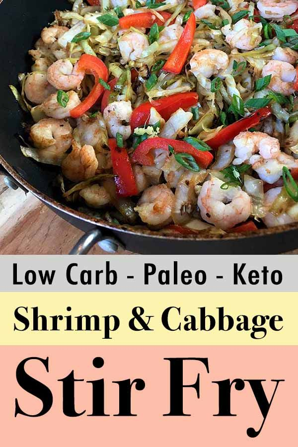 This basic Chinese recipe for Shrimp and Cabbage Stir Fry is a low carb meal that you can throw together in less than 25 minutes. #cabbagestirfry