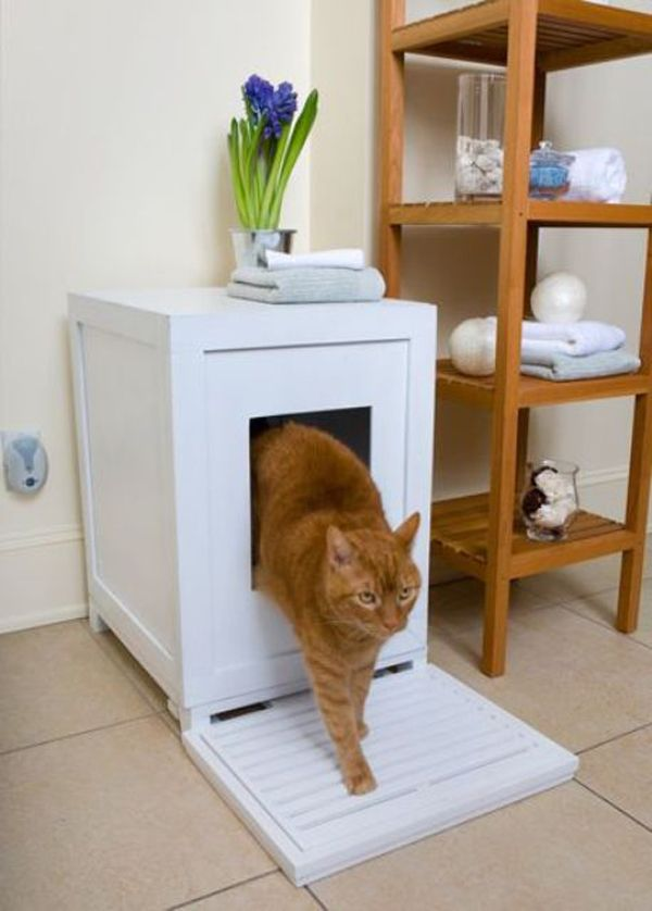 Good Small Cat Litter Box Furniture In White With Square Entry Hole Beside  Simple Wooden Shelves