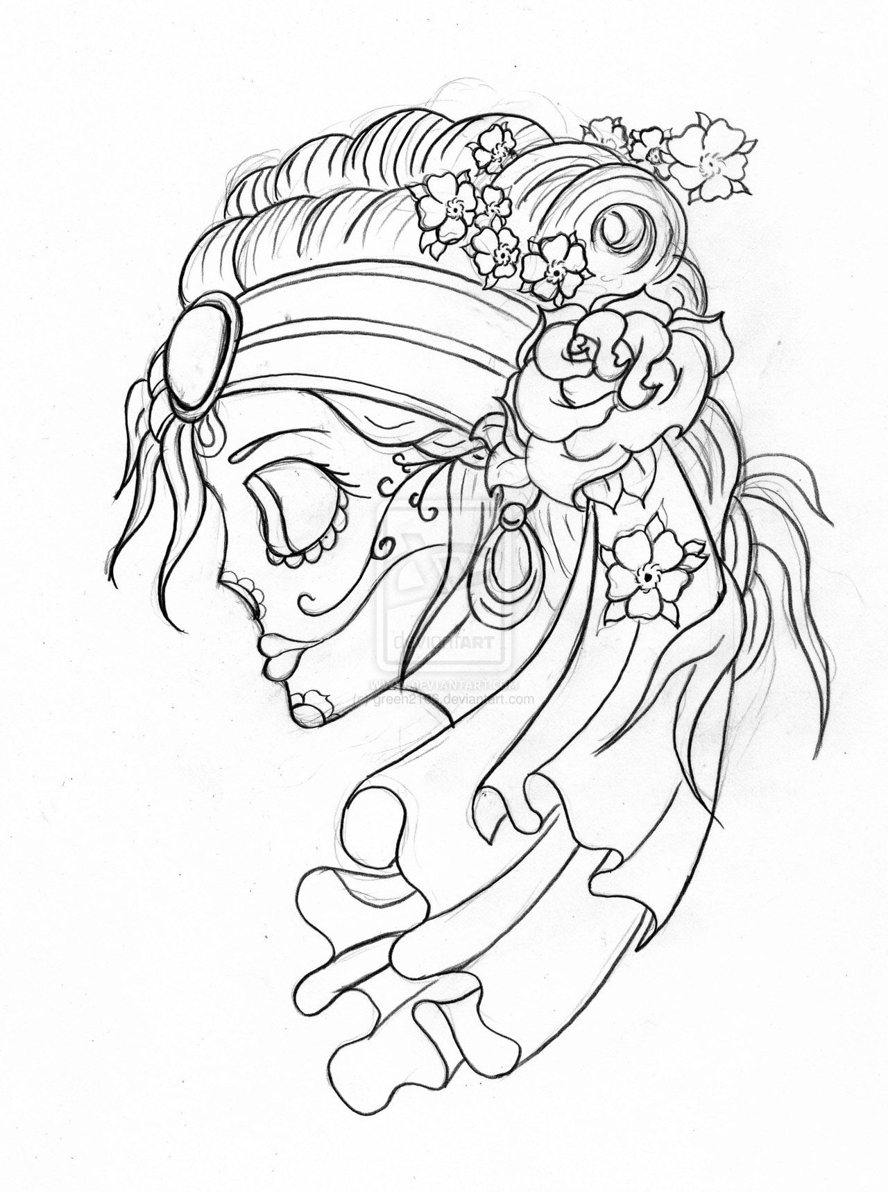 Skulls drawings gypsy candy skull with flowers by green2106 on skulls drawings gypsy candy skull with flowers by green2106 on deviantart dhlflorist Image collections