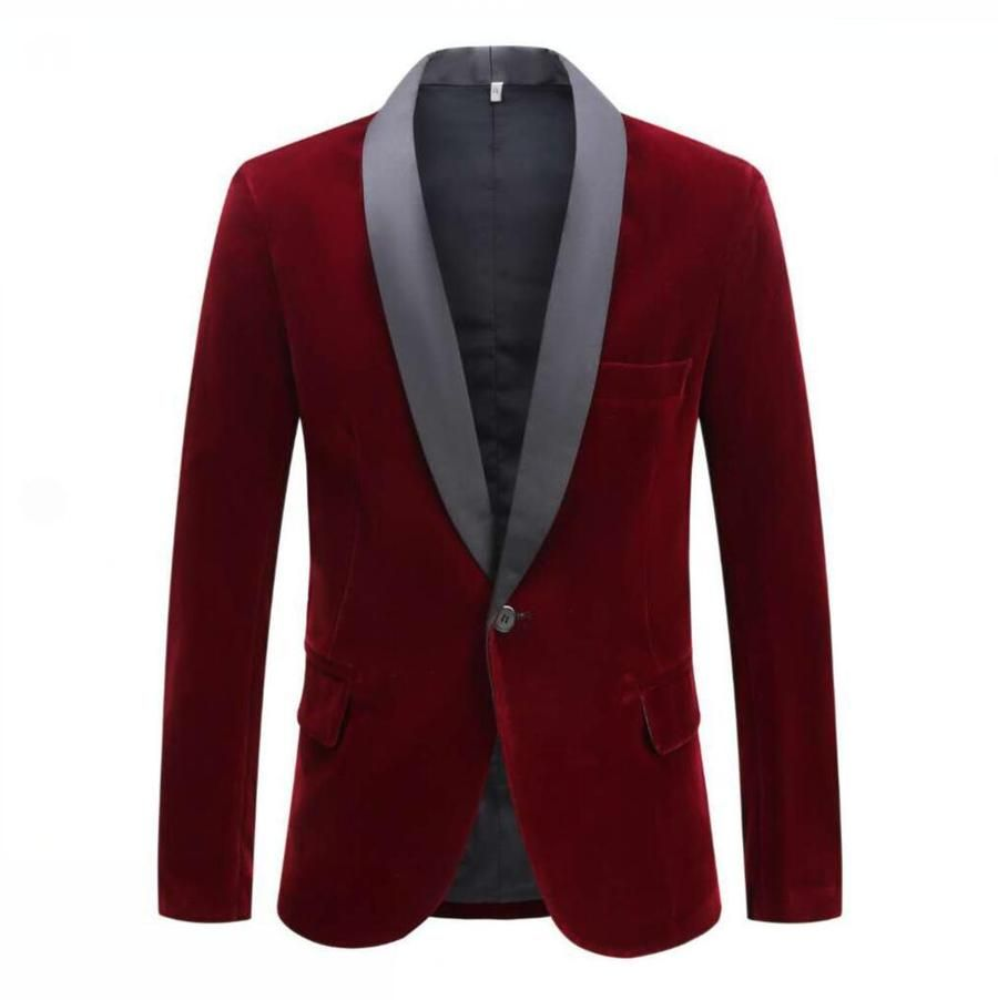 Pyjtrl Men S Autumn Winter Velvet Wine Red Fashion Leisure Suit Jacket Wedding Groom Singer Slim Fit Blazer Hombre Masculino In 2020 England Fashion Red Fashion New Mens Suits
