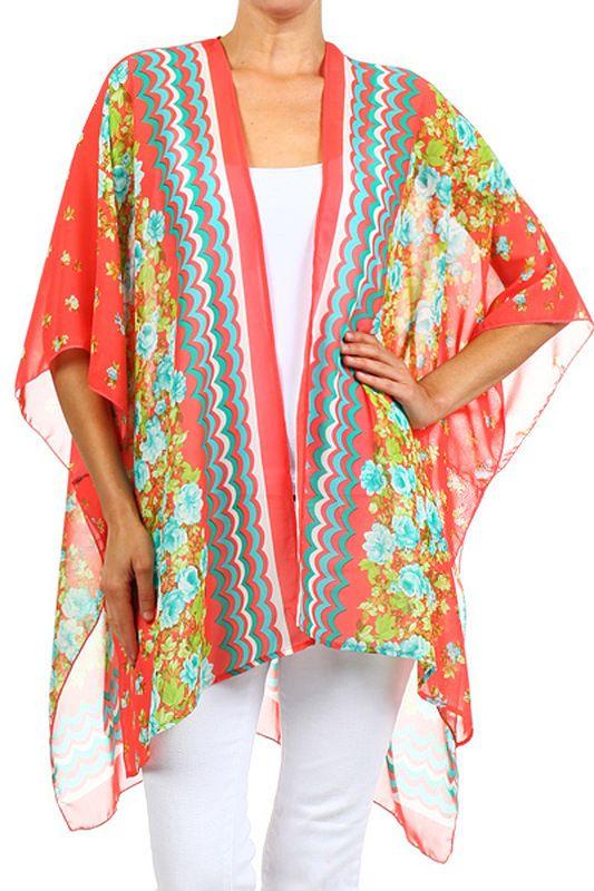 Modern Kiwi Floriana Printed Kimono Chiffon Cardigan in Coral ...