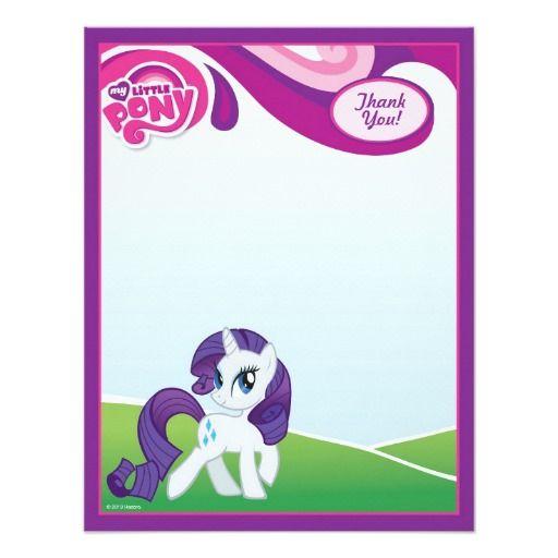 My Little Pony Rarity Thank You 4 25x5 5 Paper Invitation