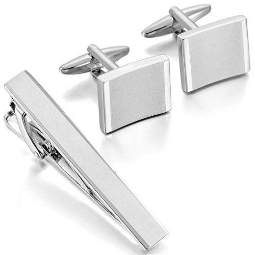 Men's Rhodium Plated Cufflinks & Necktie Tie Clip Bar Set Silver Shirt Wedding Business  http://www.yourneckties.com/mens-rhodium-plated-cufflinks-necktie-tie-clip-bar-set-silver-shirt-wedding-business/