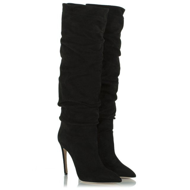 d215c21cb5a Merlyn Black Suede Ruched Knee High Boot