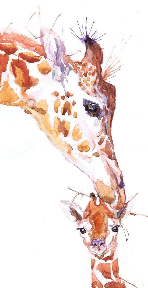 Giraffe Mother And Baby Art Print Safari Animals Watercolor