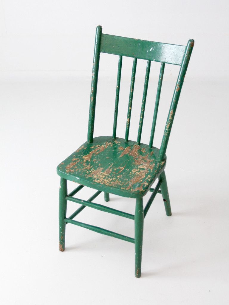 An Antique Painted Wood Chair With A Spindle Back Circa Early 20th Century Beautifully Aged The Green Wood Chair Painted Wood Chairs Wood Chair Antique Paint