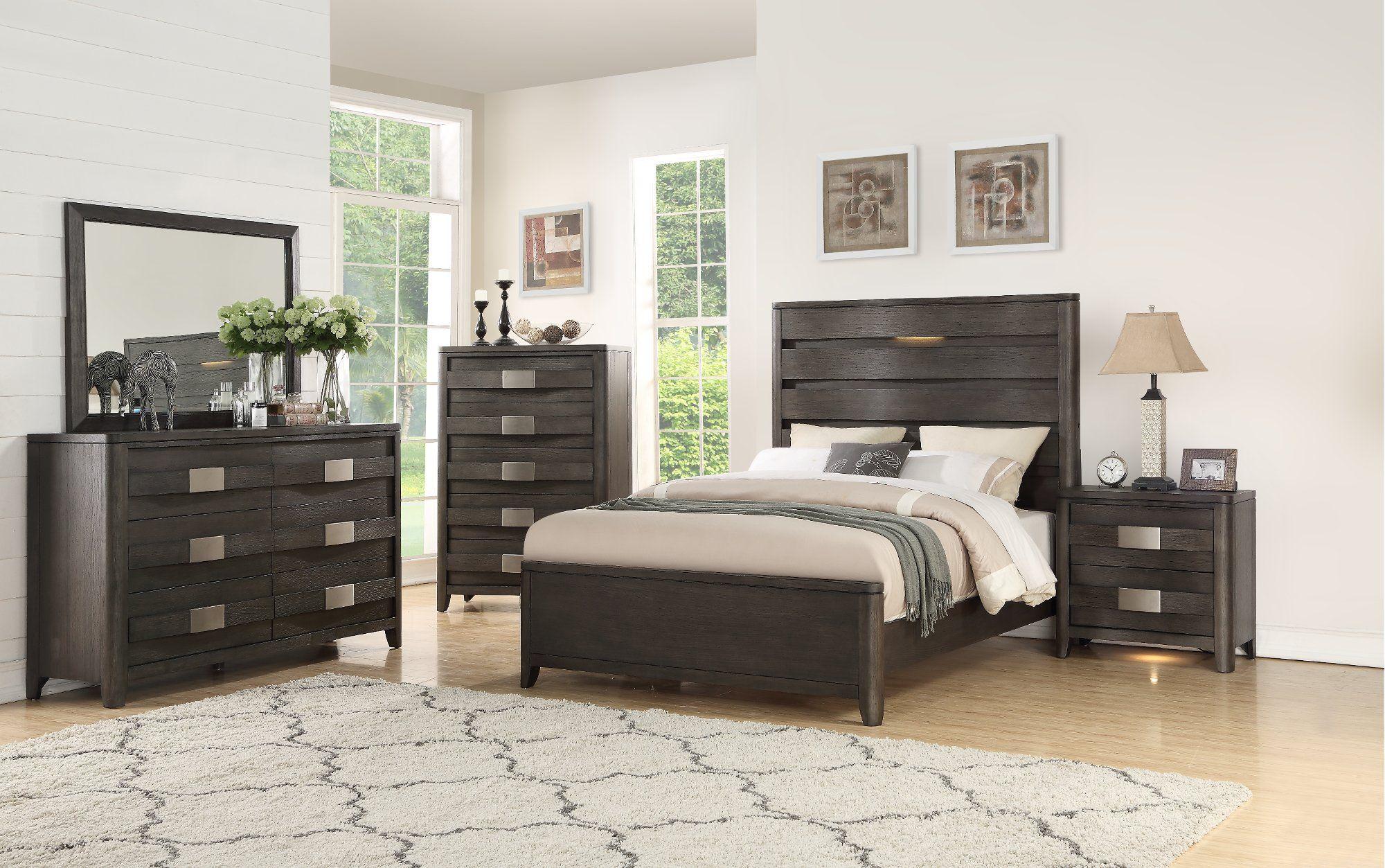 Best Contemporary Dark Gray 4 Piece Queen Bedroom Set Contour 400 x 300