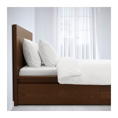 MALM High bed frame/2 storage boxes, brown stained ash veneer, Luröy ...