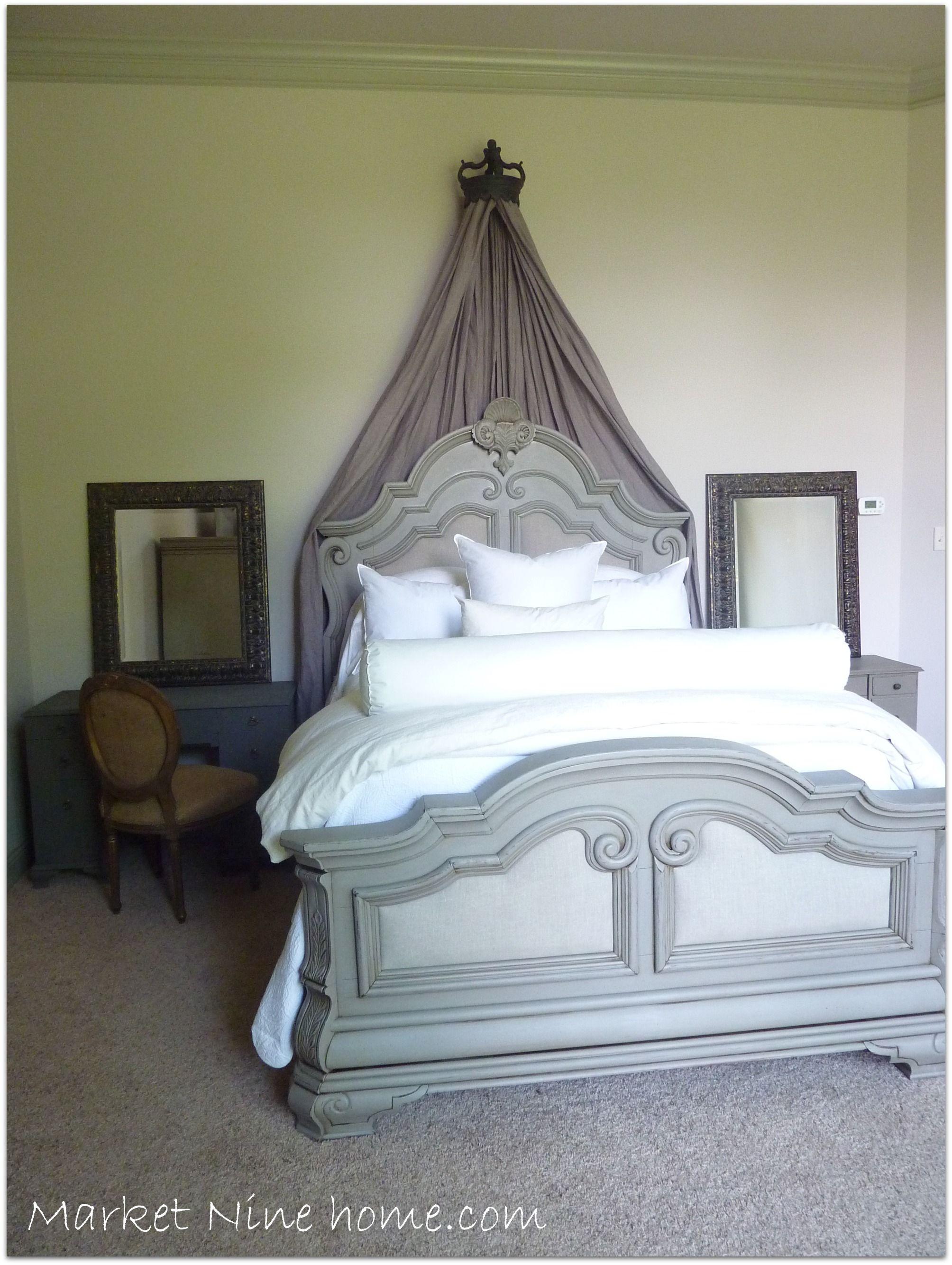 P master bedroom gray walls bed wall plain white pillows