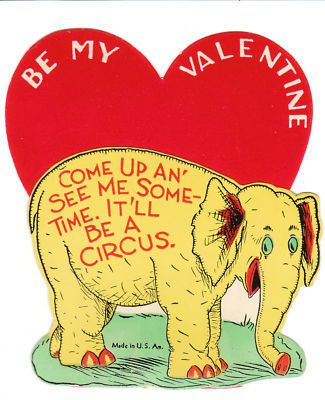 Vintage Valentine Card Elephant Dr. Seuss 1940's Rare Die-Cut for Children