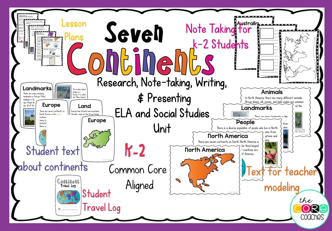 Continents Integrated Unit Note Taking Research Writing