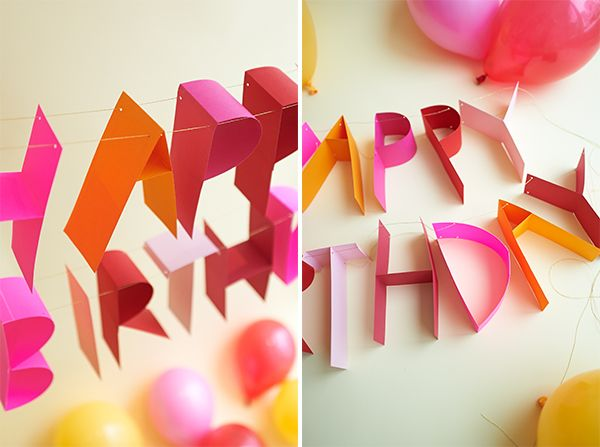 Diy 3d Paper Birthday Banner Typography Innovative Graphic Design