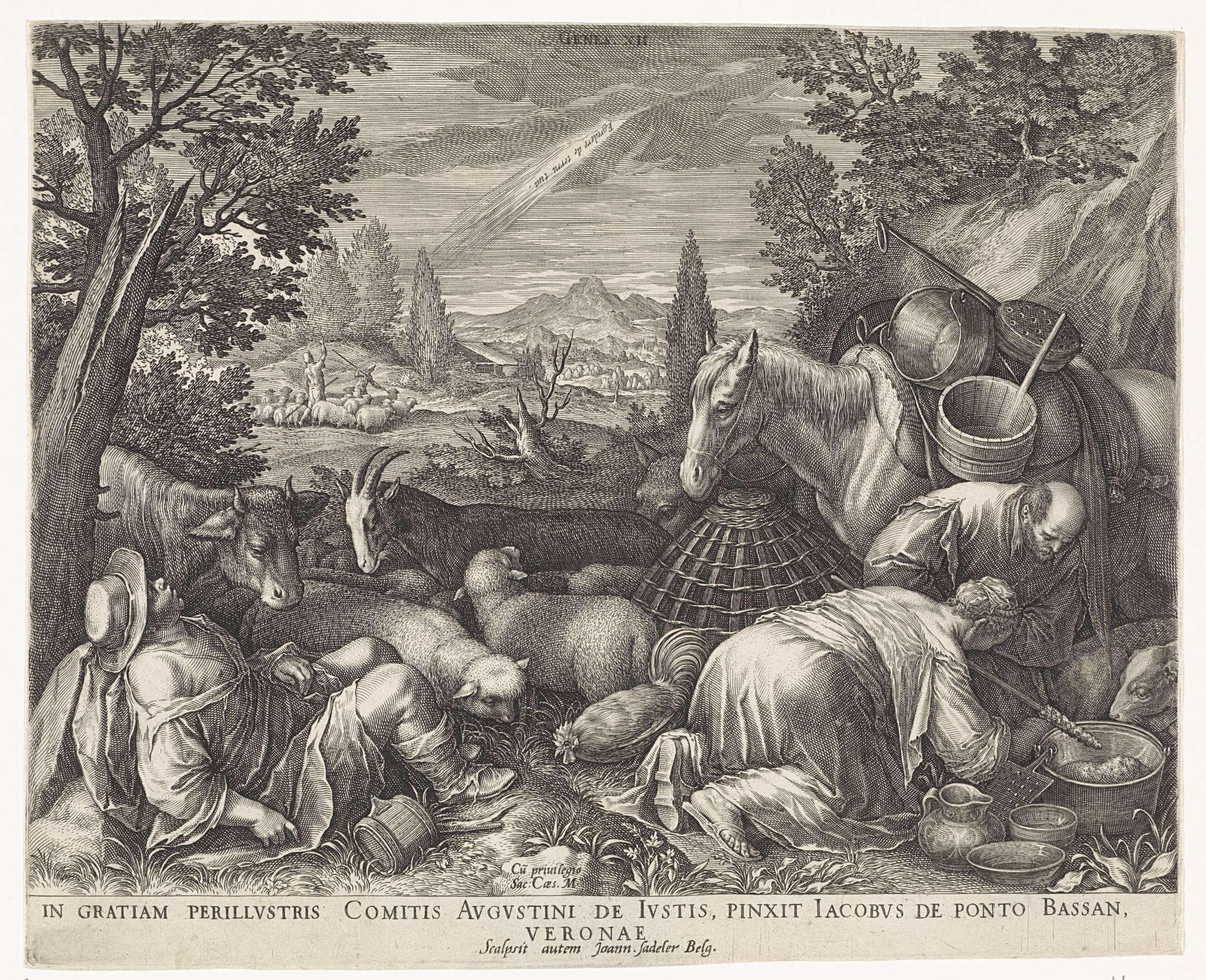 Johann Sadeler (I) | Roeping van Abraham, Johann Sadeler (I), Keizerlijk hof, 1587 - 1600 | Abraham ligt tegen een kale boom te slapen. Uit de hemel komt een lichtstraal en de stem van God. Op de voorgrond rechts Sara en Lot bij een paard.