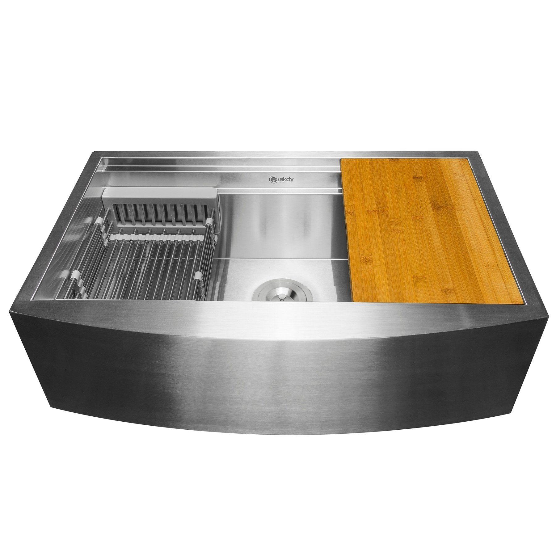 Akdy 33 X 22 X 9 Apron Farmhouse Handmade Stainless Steel Single Bowl Kitchen Sink Farmhouse Sink Kitchen Single Bowl Kitchen Sink Undermount Kitchen Sinks