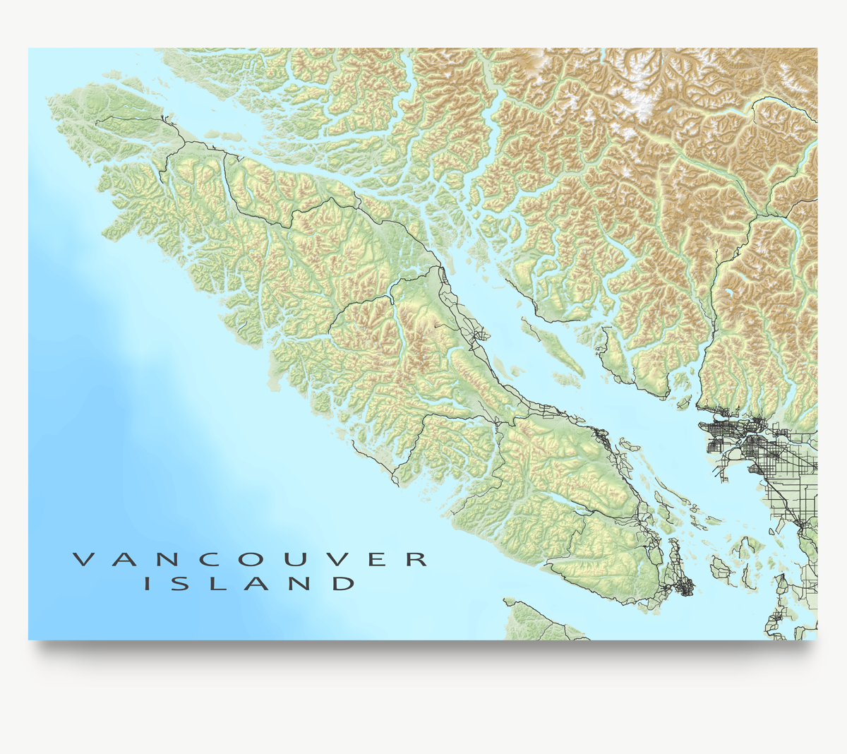 Vancouver Island Canada Map Art Print With Roads Water Bodies And