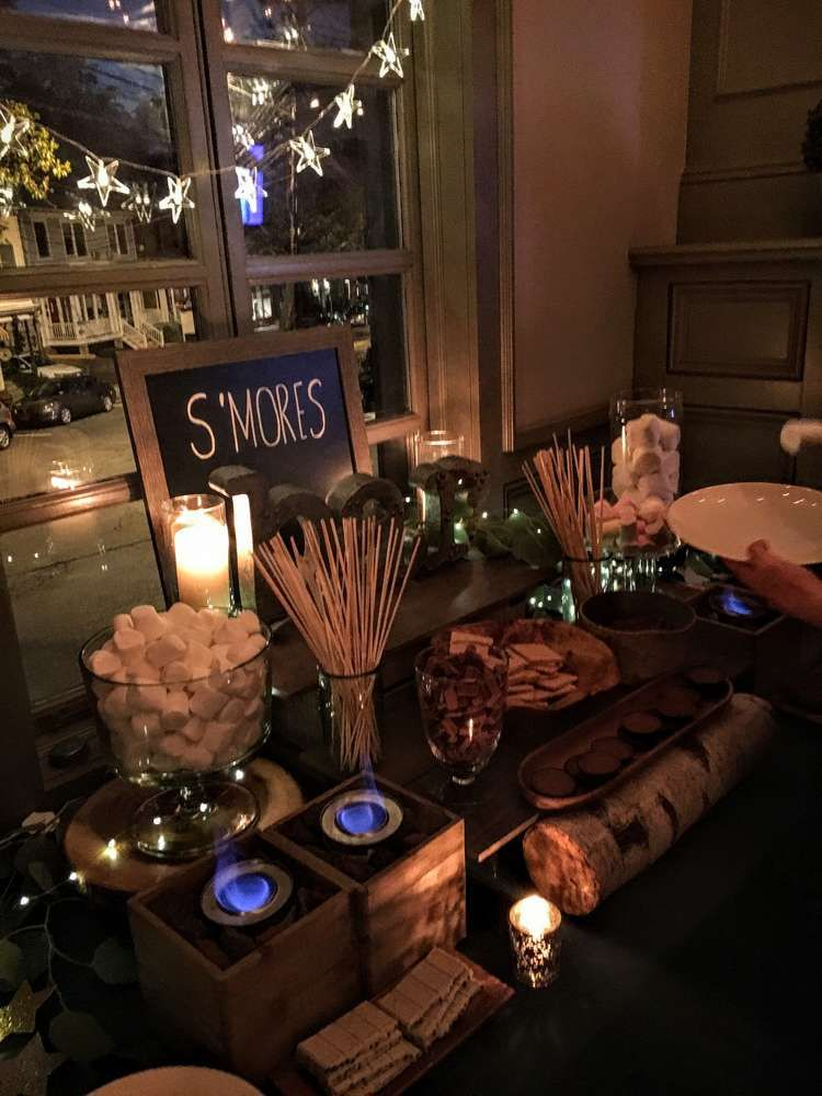 Smores Bar Stars Twinkle Lights Paper Lanterns Starry Sips Sweet 16 Party Ideas