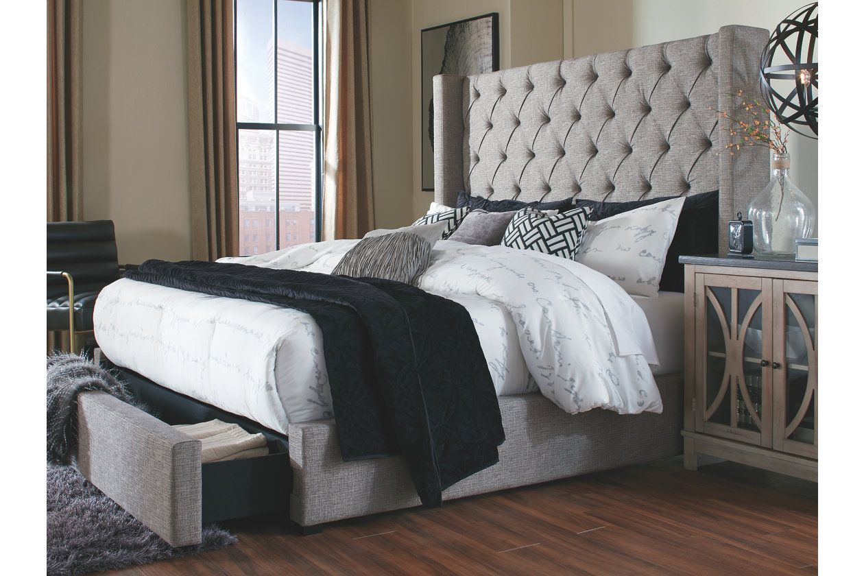 Sorinella Queen Upholstered Bed With 1 Large Storage Drawer Queen Upholstered Bed King Upholstered Bed Upholstered Beds