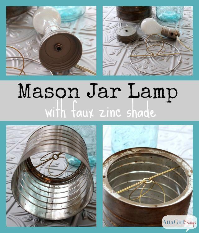Mason Jar Lamp With Faux Zinc Shade Diy Mason Jar Lights Mason Jar Lamp Jar Lights